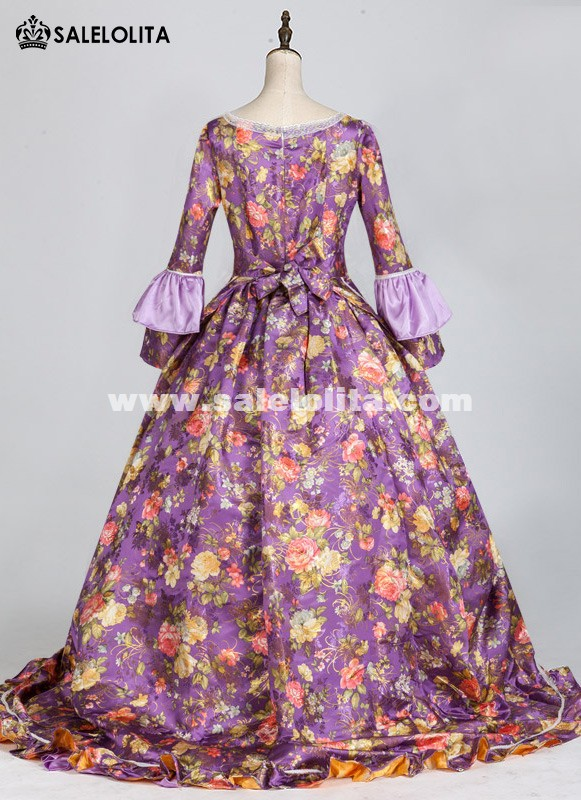 Purple Marie Antoinette Costume Masked Party Dress Medieval Wedding Gown