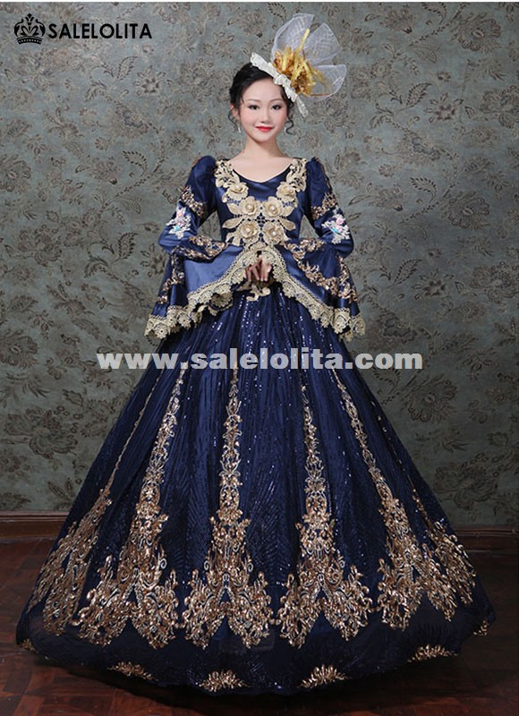 Blue/Black/Green Women Sequined Masquerade Gown Peacock Sparkle Cosplay Gown Stage Theater Carnivale Dress