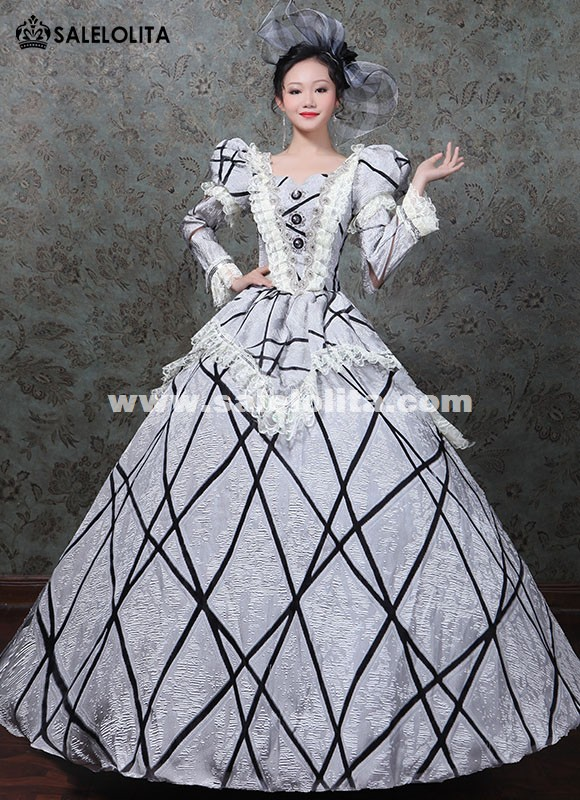 Marie Antoinette Masquerade Gowns 17th Rococo Wedding Dress