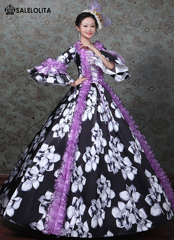 Victorian Printed Princess Party Dress Marie Antoinette Masquerade Gown Theatrical Costume