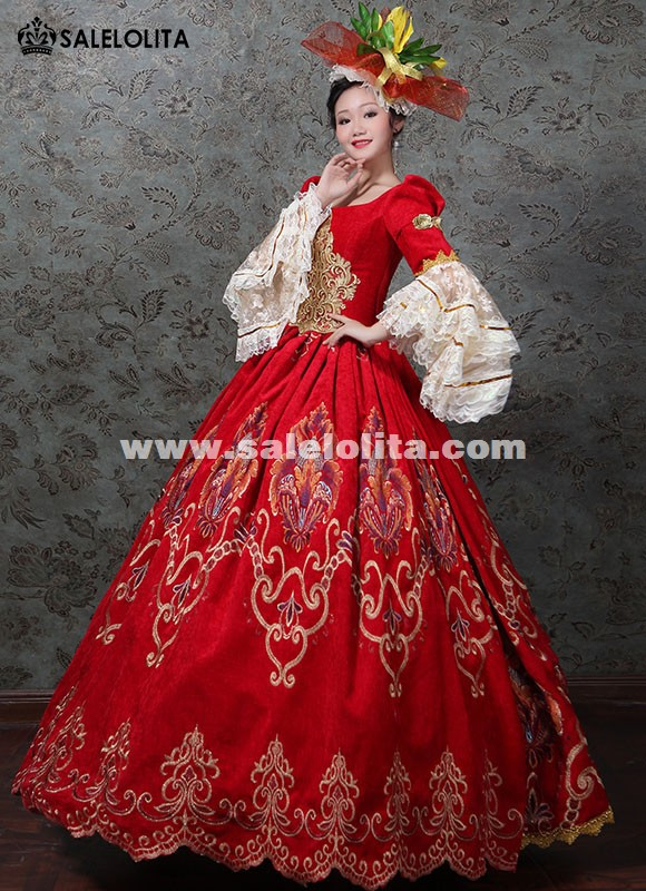 Victorian Wedding Red Dress Marie Antoinette Masquerade Gown Carnivale theater Gown