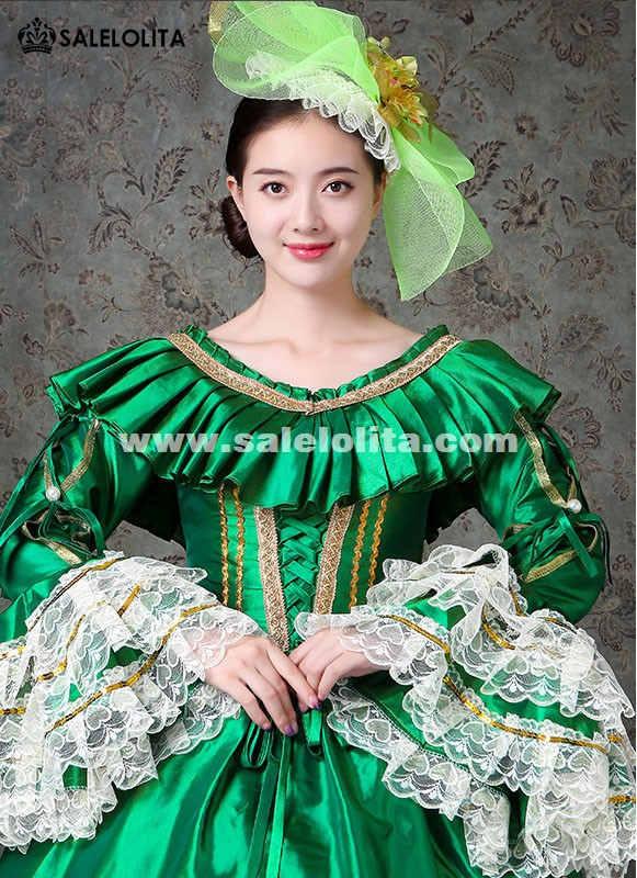 Green Victorian Fancy Palace Masquerade Dresses Carnivale Women Marie Antoinette Dress Stage Theater Costumes