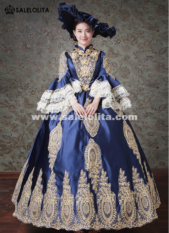 Dark Blue Vampire Halloween Embroidery Marie Antoinette Costume Gothic Victorian Carnivale Gowns Dress Stage Theater Costumes