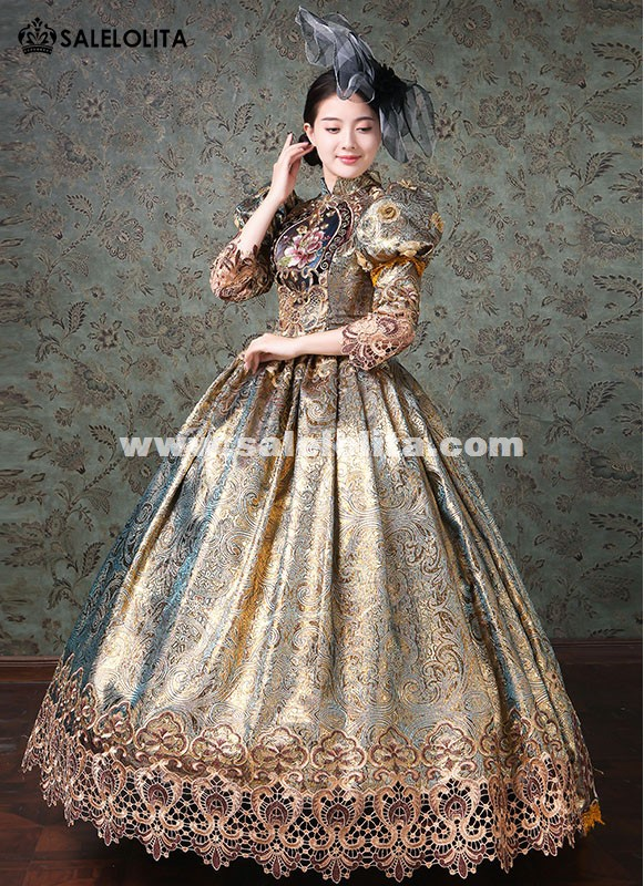 Upscale Champagne Marie Antoinette Rococo Dresses Medieval Victorian Prom Masquerade Gowns Stage Theater Costume