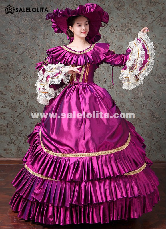 Carnivale Events Gown Women Purple Fantasy Gowns Marie Antoinette Masquerade Dresses Stage Theater Costumes