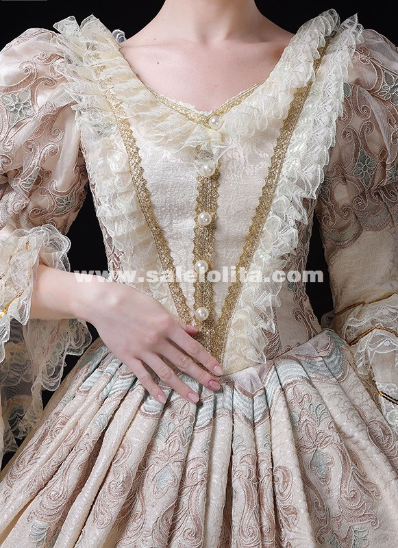 New Arrival Champagne Marie Antoinette Gown Princess Masquerade Victorian Womens Dresses
