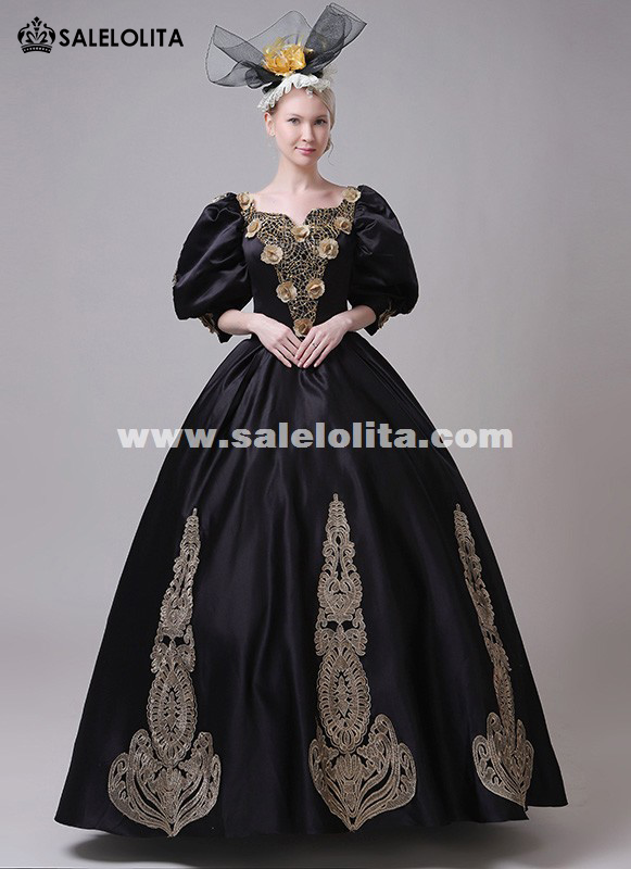 911c8de0a86e Halloween Carnivale Marie Antoinette Dress Women Black Gothic Steampunk  Victorian Gown. Loading