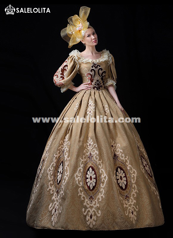 Newest Gold Printed 18th Century Rococo Gothic Marie Antoinette Victorian Party Dress Period Theater Women Costumes