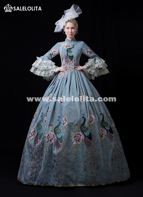 New Arrival Blue Embroidery Rococo Marie Antoinette Costumes Princess Victorian Dresses