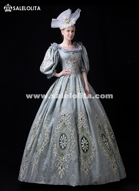 Hot Sale Blue Marie Antoinette Victorian Party Dress Period Theater Women Costumes