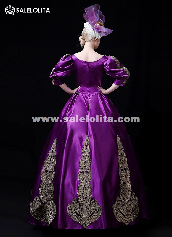 Purple Embroidery 18th Century Sweet Gothic Victorian Ball Gown Marie Antoinette Costume Theater Women Costumes