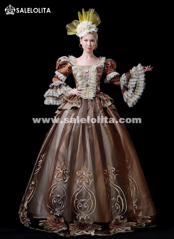 Hot Sale Coffee 18th Century Rococo Marie Antoinette Dress Gothic Victorian Period Party Dress Theater Ruffle Women Costumes
