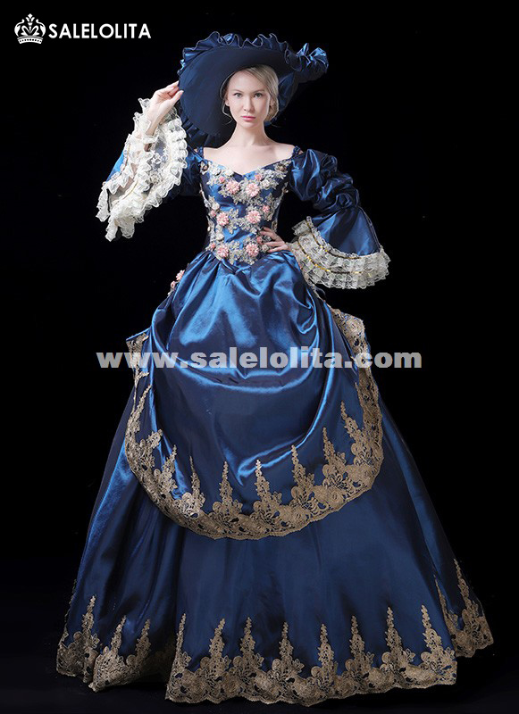 Top Sale Victorian French Bustle Fairytale Ball Gown Costume Marie Antointte Party Dress Women Steampunk Theater Clothing