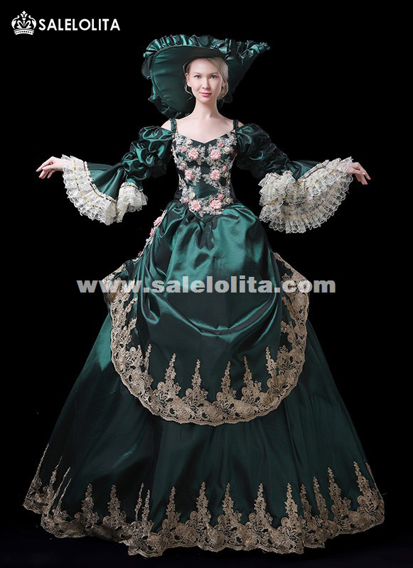 New Arrival Christmas Carnivale Gown Stage Theater Womens Vintage Dress Green Marie Antoinette Gown