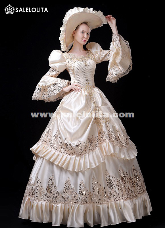 Upscale White Antique Marie Antoinette Dress Victorian Stage Gown Carnivale Parade Costume
