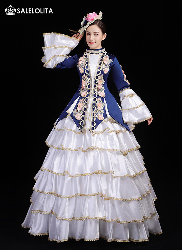 New Arrival Dark Blue Marie Antoinette Ball Gown Christmas Party Costumes