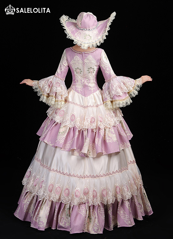 18th Century Masquerade Fancy Dress Pink Christmas Marie Antoinette Dress Stage Theater Clothing