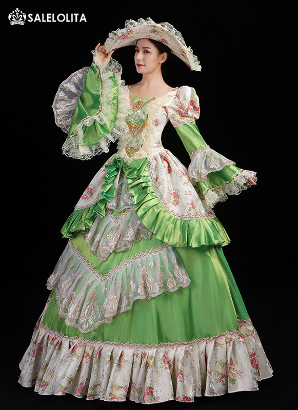 Newest Green 18th Century Marie Antoinette Dress Costume Gown Rococo Southern Belle Stage Theater Clothing