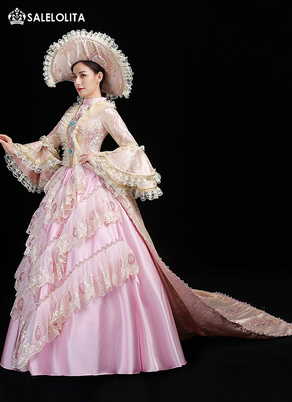 Upscale Pink Masquerade Marie Antoinette Dress Southern Belle Christmas Party Prom Gowns Stage Theater Costume