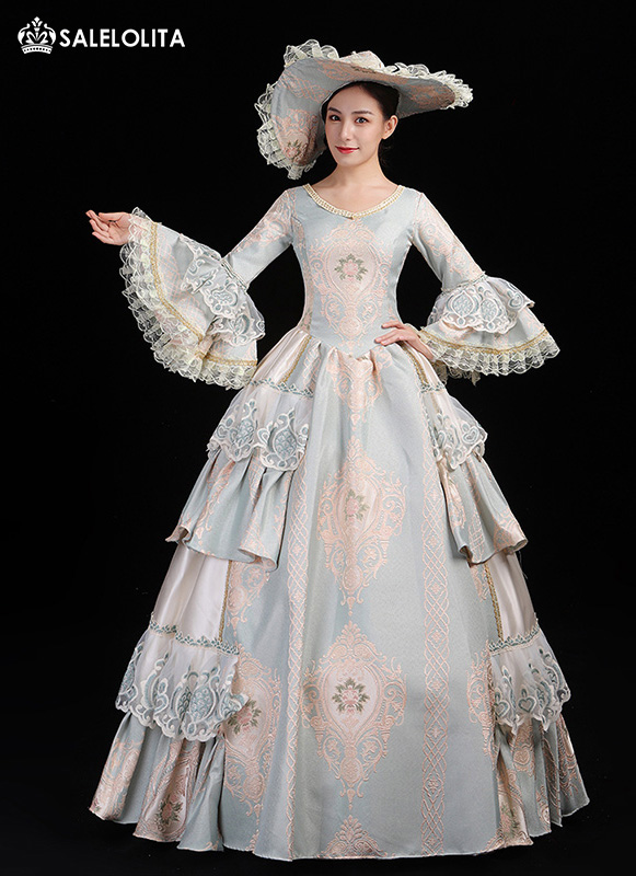 Brand New Light Blue Masquerade Marie Antoinette Prom Dress Southern Belle Stage Theater Costume