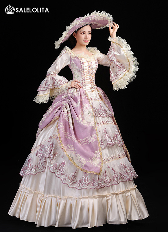 Brand New Pink Floral Christmas Birthday Party Dress Women Southern Belle Ball Gown Theater Costume