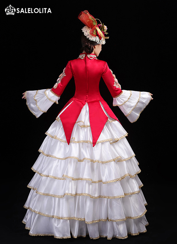 New Red Christmas Party Prom Dress Women Marie Antoinette Gown Stage Theater Clothing