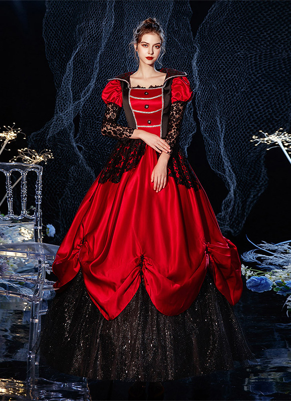 Wine Red Vampire Queen Cosplay Fancy Dress Medieval Renaissance Historical Period Reenactment Halloween Costume