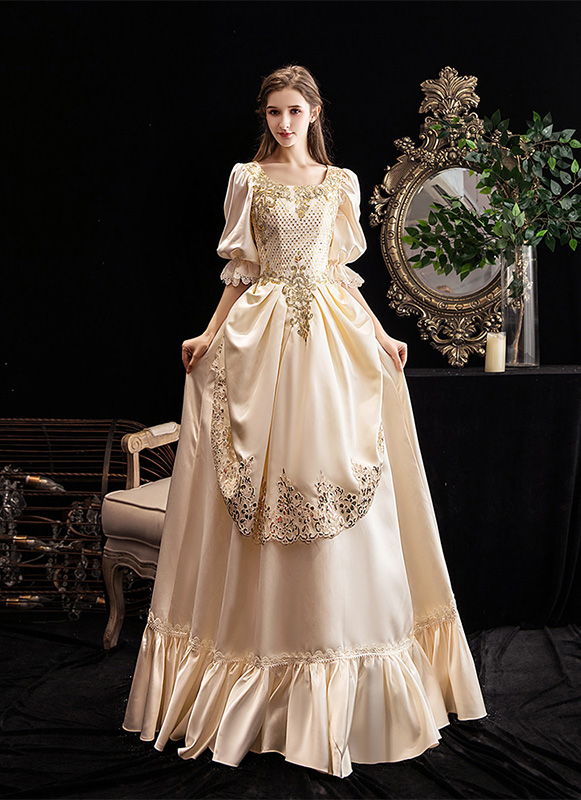 Champagne Rococo Belle Dress Medieval Renassance Victorian Party Dress Theatre Costume