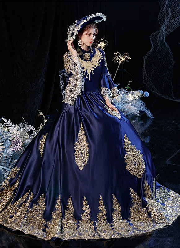 Rococo Marie Antoinette Dress Medieval Reenactment Theater Dress Brocade Victorian Period Queen Dresses Halloween Costume