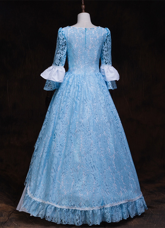 Blue Rococo Belle Princess Lolita Marie Antoinette Dress Medieval Reenactment Theater Dress Brocade Victorian Period Queen Dresses