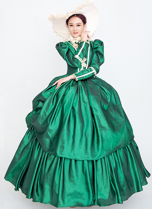Green Rococo Baroque Marie Antoinette Dress 18th Century Renaissance Period Dress