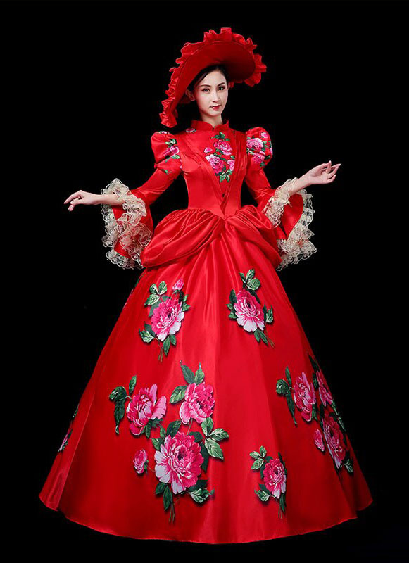 Red Southern Belle Princess Dress Christmas Party Ball Gown Women Vintage Wedding Dress