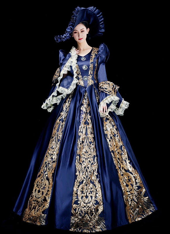 Vintage Blue Renaissance Victorian Period Ball Gown Reenactment Theater Costume