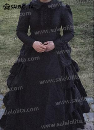 Black Gothic Victorian Dress Halloween Party Dresses