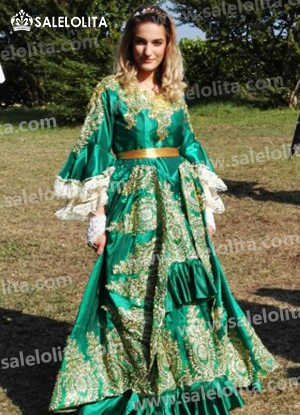 Green Satins Embroidery Halloween Marie Antoinette Dresses Costumes