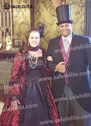 Delivery  sc 1 st  Salelolita.com & Victorian Gothic Steampunk Dress Brocade Long Sleeve Prom Ball Gown ...