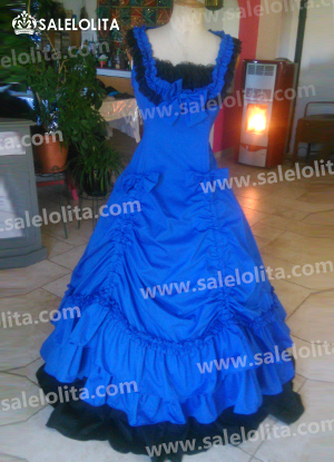 Hot Sale Blue and Black Gothic Cotton Victorian Dresses For Women