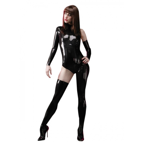 Black Asymmetrical Catwoman Latex Catsuit