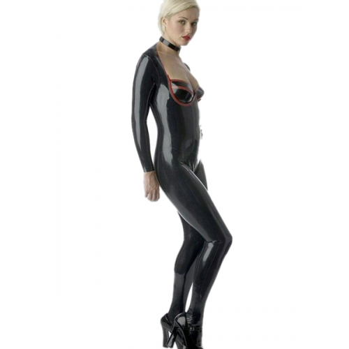 Black Catwoman Latex Catsuit with Plunging Neckline and Zippered Open Crotch