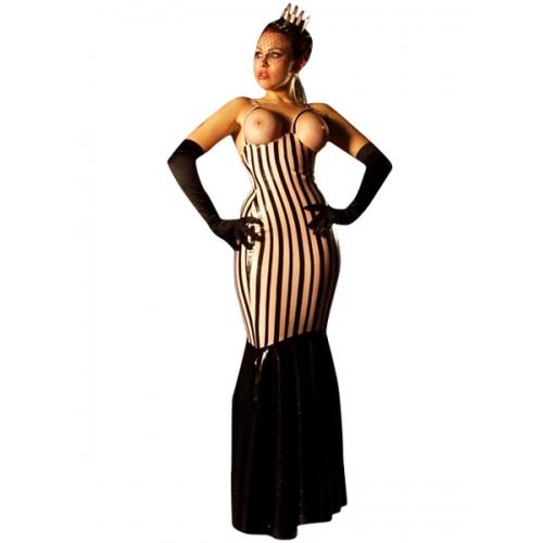 Zebra Stripes Open Bust Latex Dress Loading