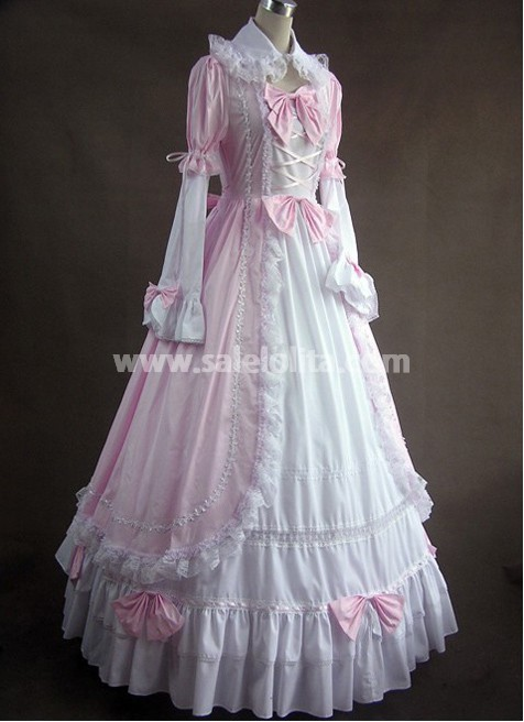 Pink and White Long Victorian Style Gown