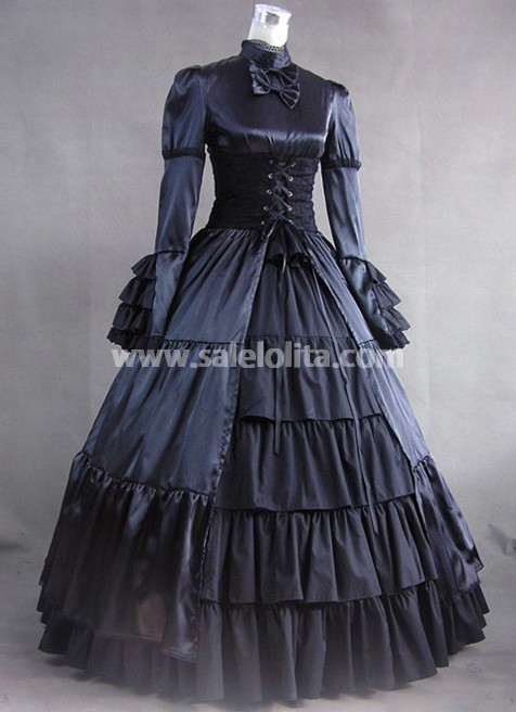 BIG DISCOUNT-LIMITED TIME!! Long Sleeves Black Gothic Victorian Style Gown