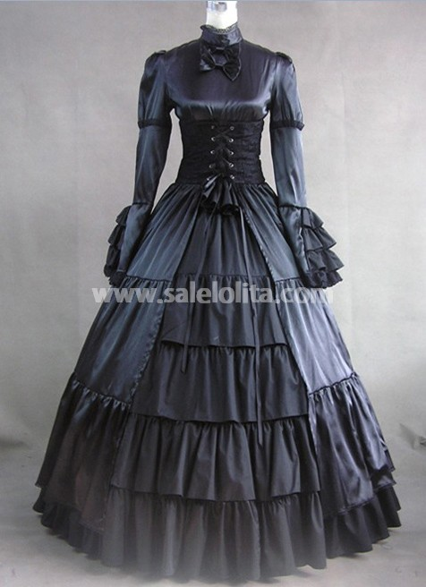 Buy Elegant And Black Vintage Victorian Dress For Halloween