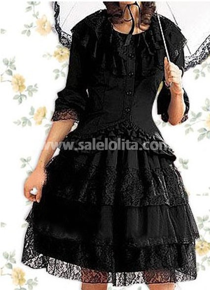 Cotton Black Gothic Lolita Blouse and Dress