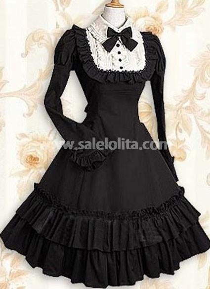 Classic Cheap Black Long Sleeves Ruffle Cotton Classic Lolita Dress