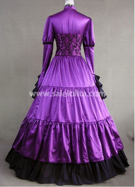 Royal Purple Victorian Gothic Long Sleeve Ball Gown Party