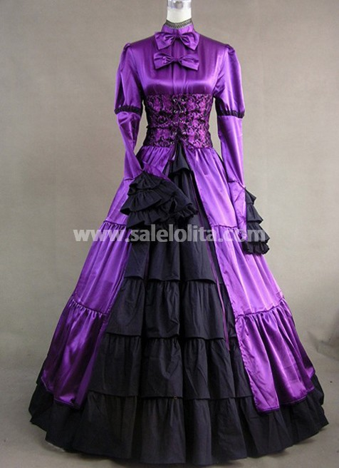 Royal Purple Victorian Gothic Long Sleeve Ball Gown Party Dresses 2016