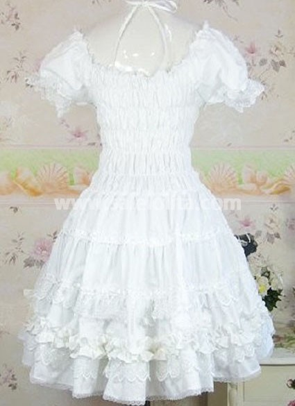 White Shirred Ruffles Cotton Sweet Lolita Dress