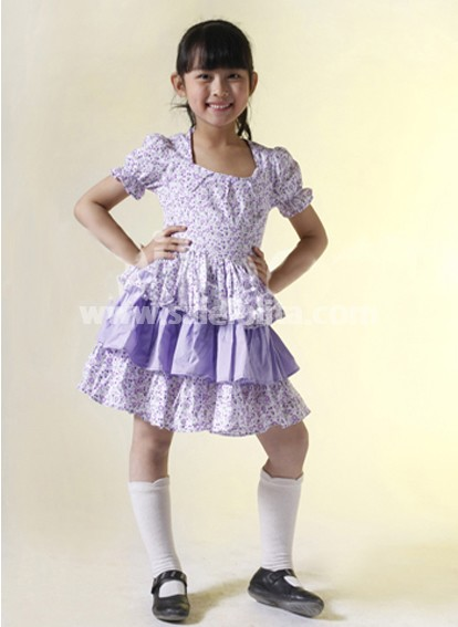 Kawaii Multi Short Sleeves Ruffled Cotton Sweet Kids Lolita Dress