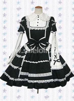 Black And White Long Sleeve Bow Lace Cotton Gothic Lolita Dress